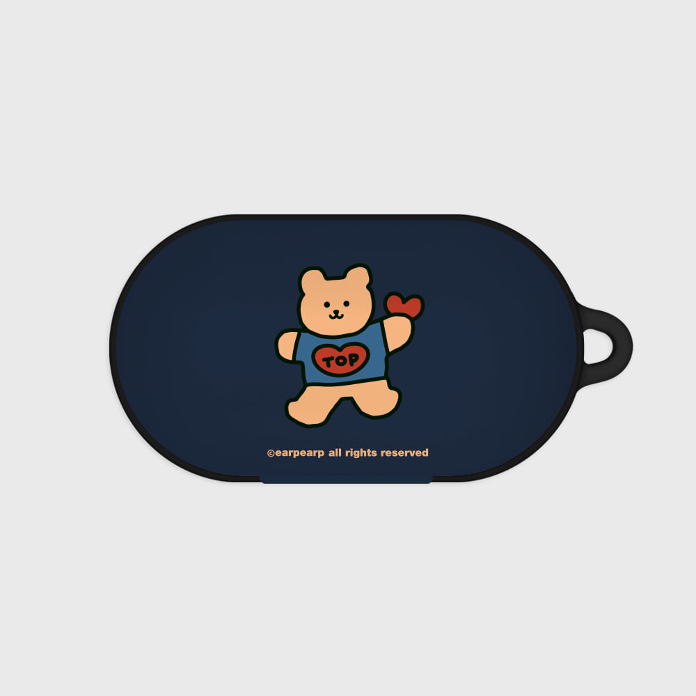 Bear heart-navy(buds hard case)