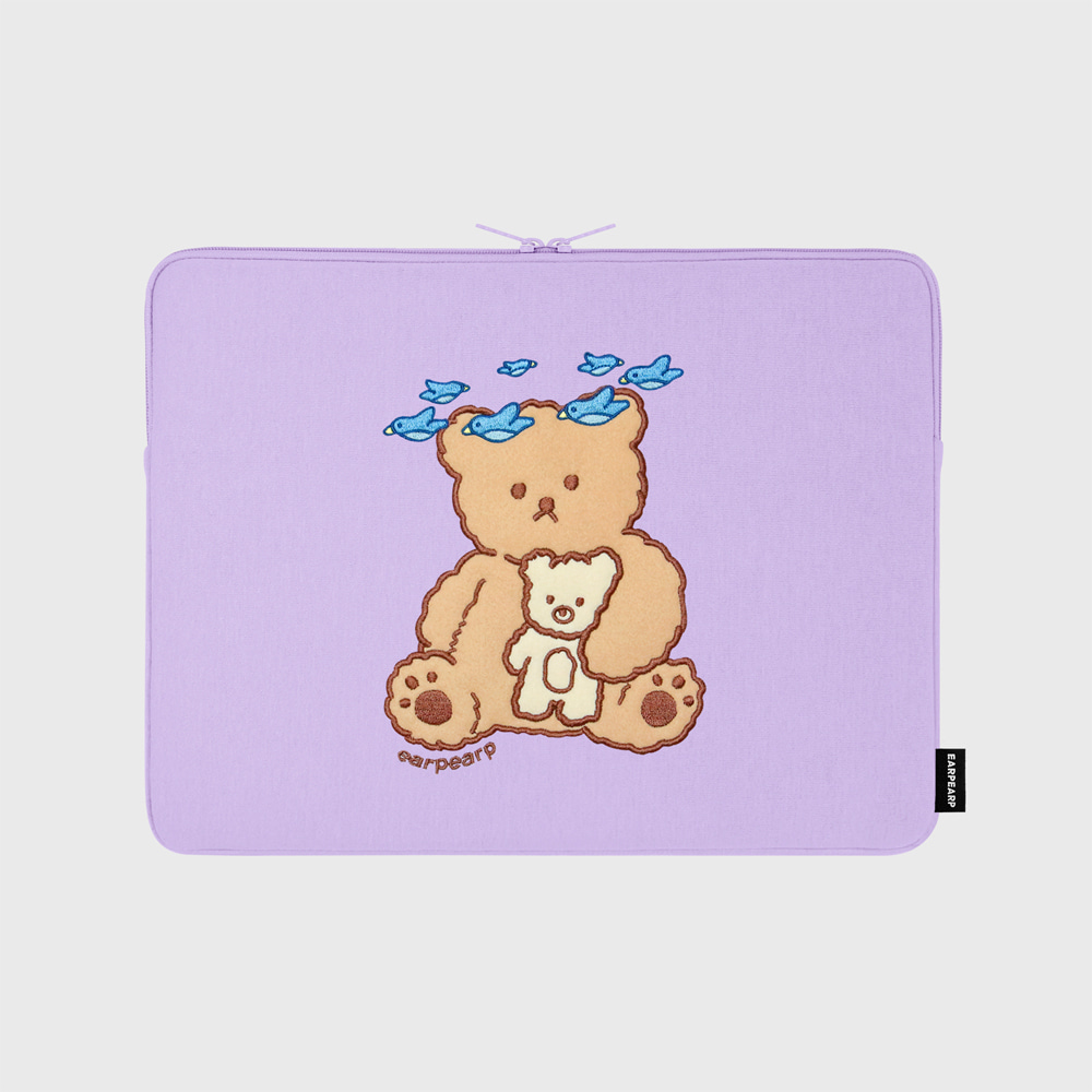 [01.22 예약발송]Blue bird bear-purple-13inch notebook pouch