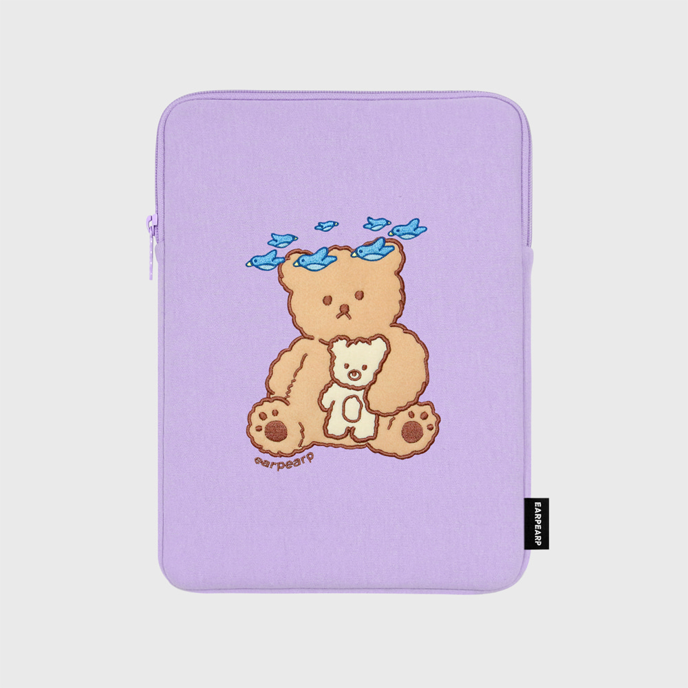 Blue bird bear-purple-ipad pouch(아이패드 파우치)