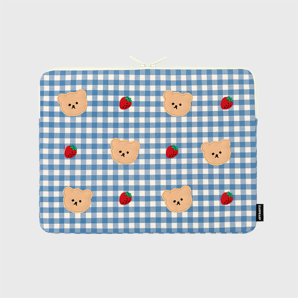 Dot strawberry check-blue-13inch notebook pouch(13인치 노트북 파우치)