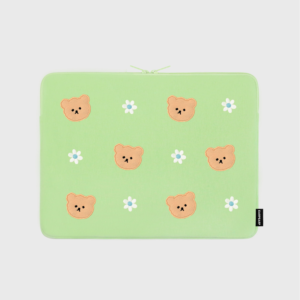 Dot flower bear-mint-13inch notebook pouch(13인치 노트북파우치)