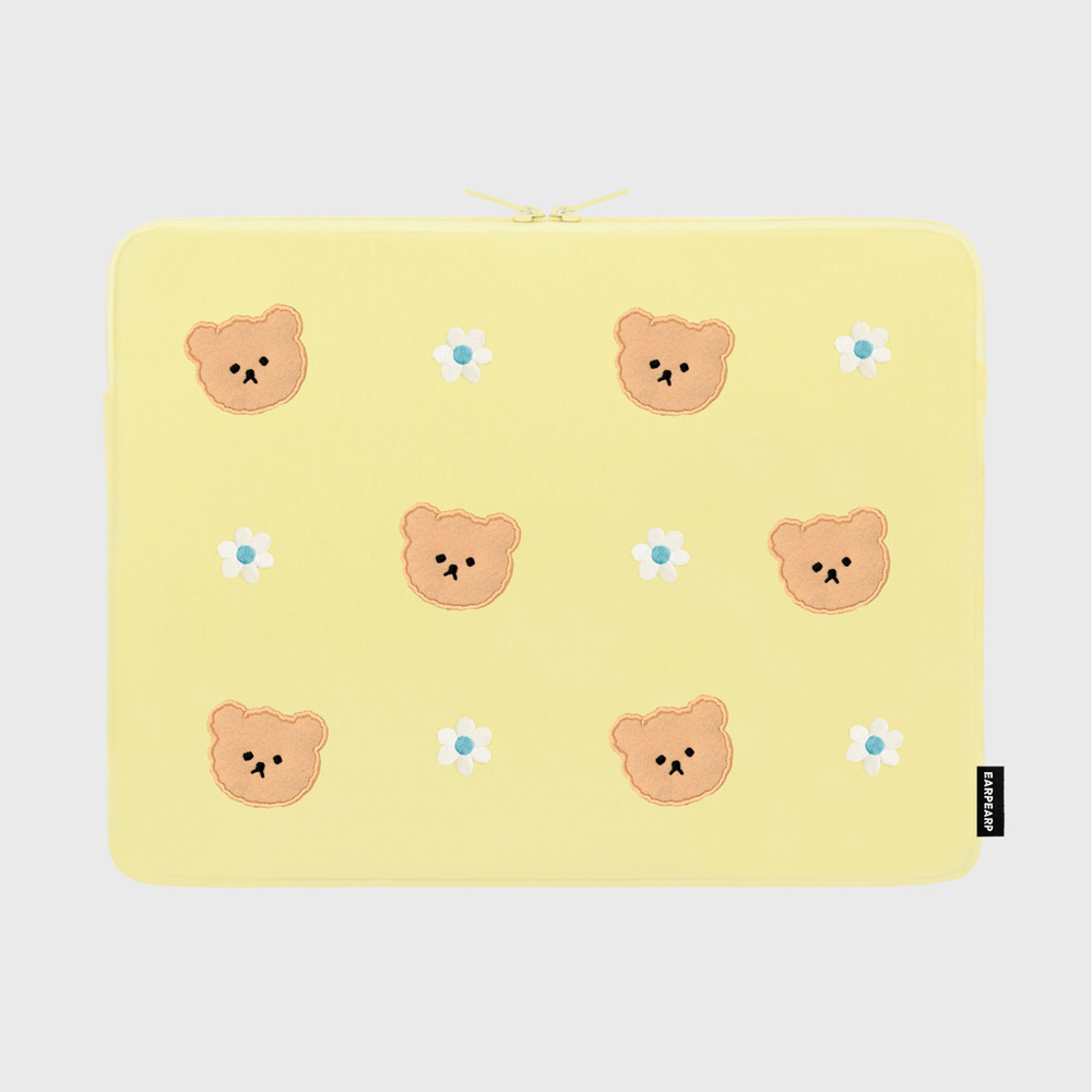 Dot flower bear-yellow-15inch notebook pouch(15인치 노트북파우치)