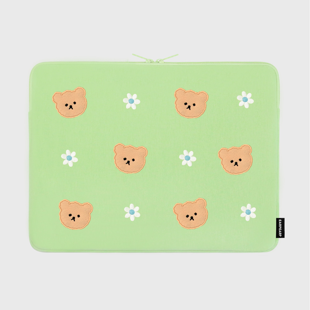 Dot flower bear-mint-15inch notebook pouch(15인치 노트북파우치)