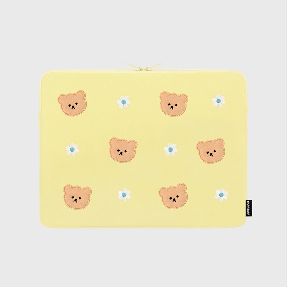 Dot flower bear-yellow-13inch notebook pouch(13인치 노트북파우치)