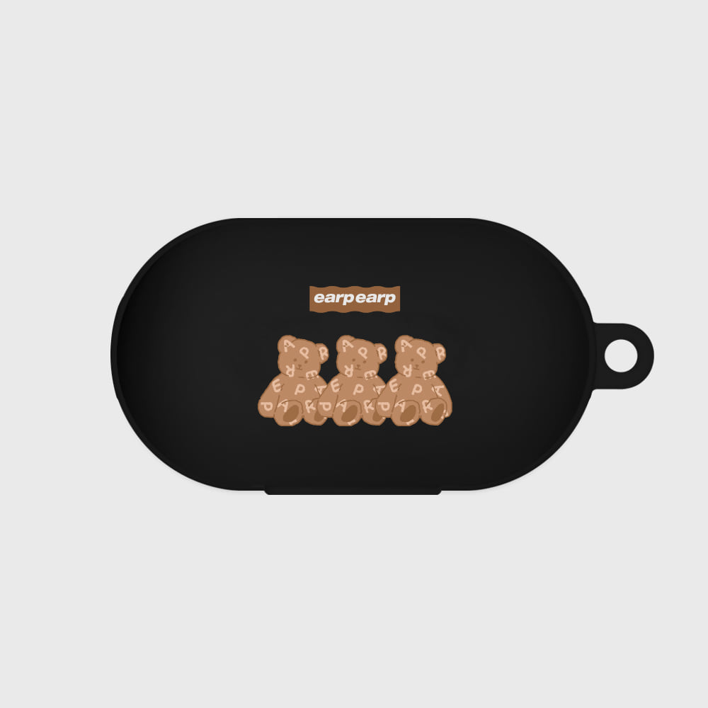 Triple soft bear-black(Buds jelly case)